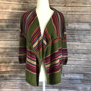 Chaps Denim Green Purple Stripe Waterfall Sweater